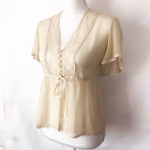 Free People Tops - Free People Sheer Ivory Silk & Lace Blouse